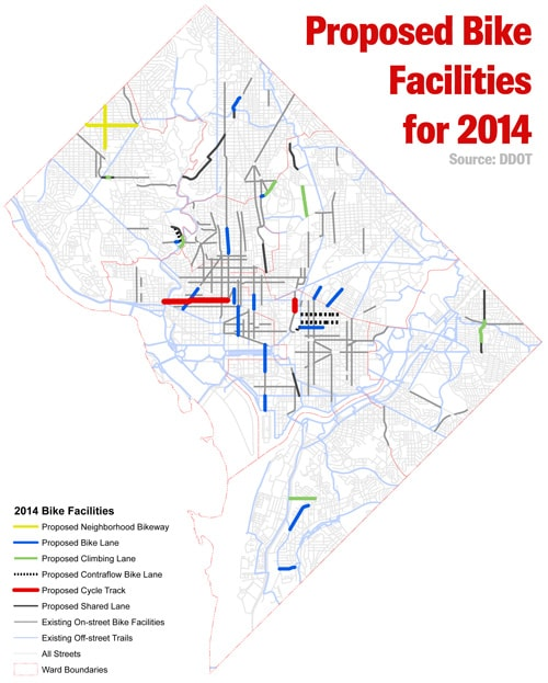 DDOT's proposed bike facilities for 2014