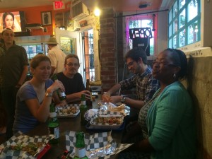 An evening enjoying food from Indigo on K St. NE and discussing the book Triumph of the City.