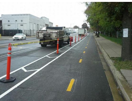 Shiny new protected bike lane on 6th St NE