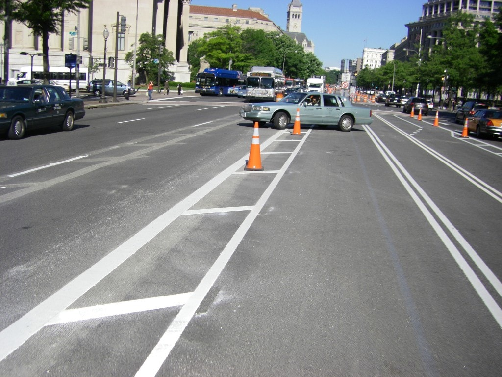 Quite possibly the first U-turn on Pennsylvania Ave NW on May 7, 2010. Photo credit: