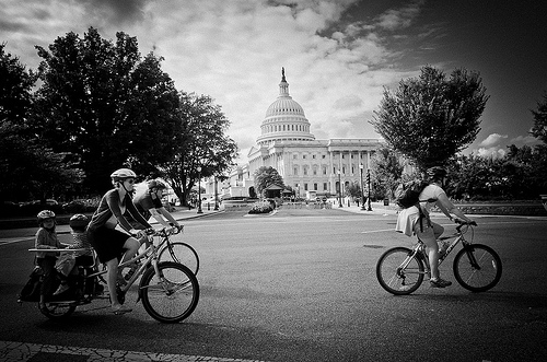 General WABA - Bikes in front of Capitol B&W