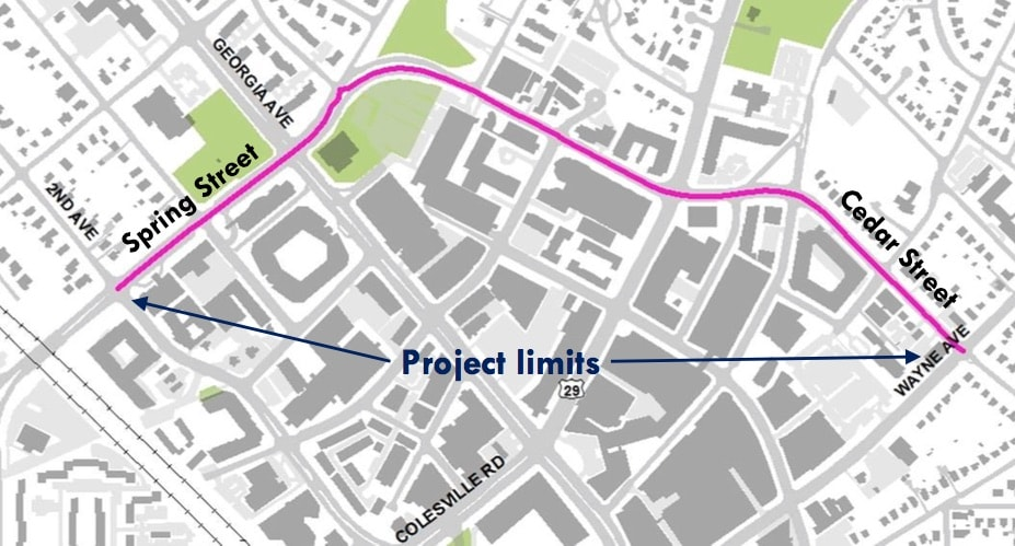 Proposed protected bike lane on Spring and Cedar Streets in Silver Spring