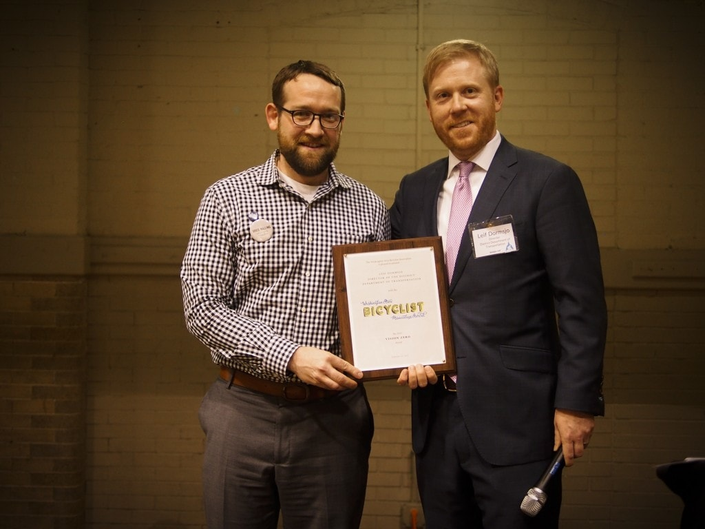 DDOT Director Leif Dormsjo accepts The Vision Zero award.