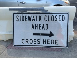 Side walk closed L St