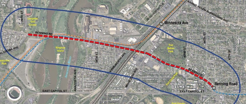 Map of the proposed streetcar extension. Image from DDOT.
