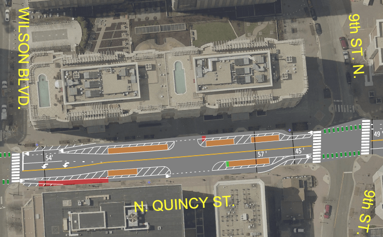 Potential protected bike lane concept and parking impacts (pdf)
