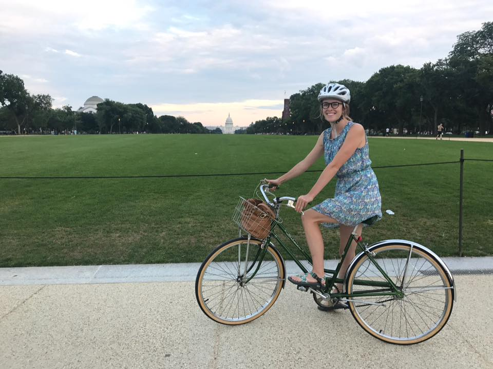 dbccc2ac7ff Ashley Blue, one of W&B's original Roll Models, on the National Mall with  her bike.