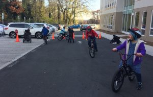 Youth on bikes at Bridges PCS