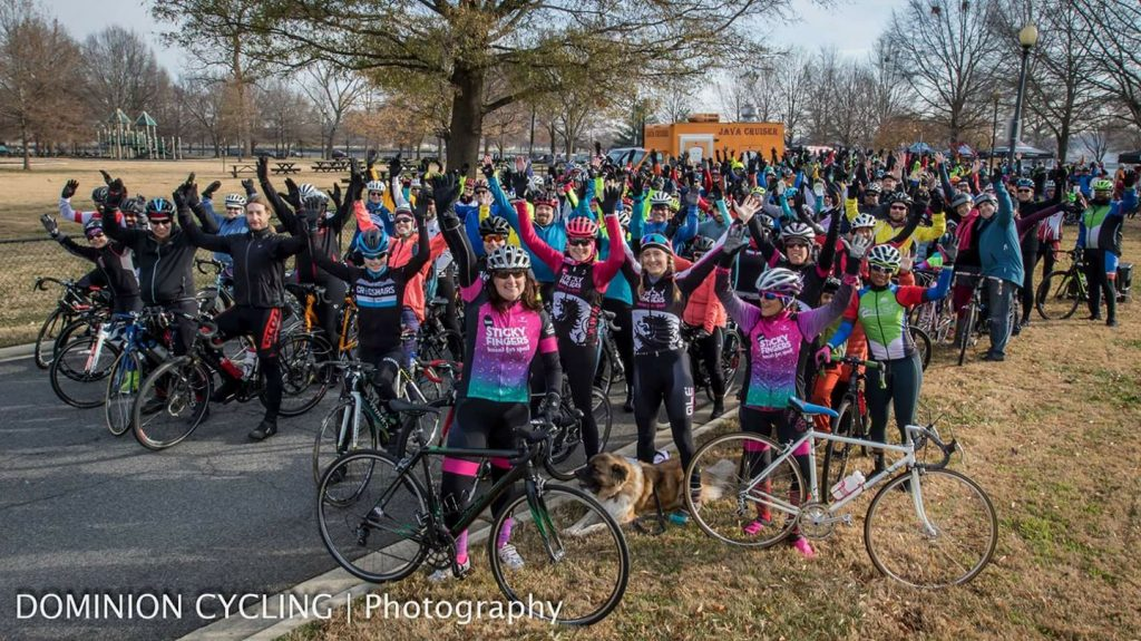 Hains Point 100 riders celebrate before beginning the ride in December of 2017