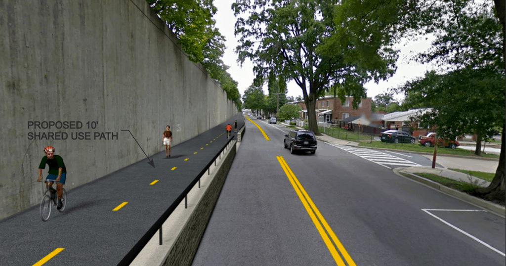 multi-use trail separated from car traffic by a low concrete wall in Tokoma