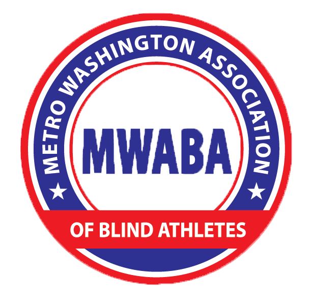 MWABA logo! It's a blue ring with red border that says Metro Washigton Association of Blind Athletes with MWABA in the middle