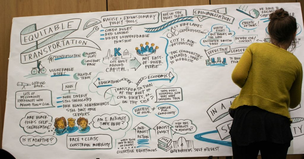 "Graphic recorder Emily Simons capturing the conversation during the panel ,""Equitable Transportation in a Historically Segregated City."""