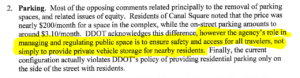 "Highlighted text in a letter from DDOT to the ANC: ""The agency's role in managing and regulating public space is to ensure the safety and access for all travelers, not simply to provide private vehicle storage to nearby residents"""