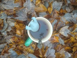 Looking down at a tea mug sitting in a pile of leaves. There is a metal spoon in the brown tea and a manatee shaped tea strainer