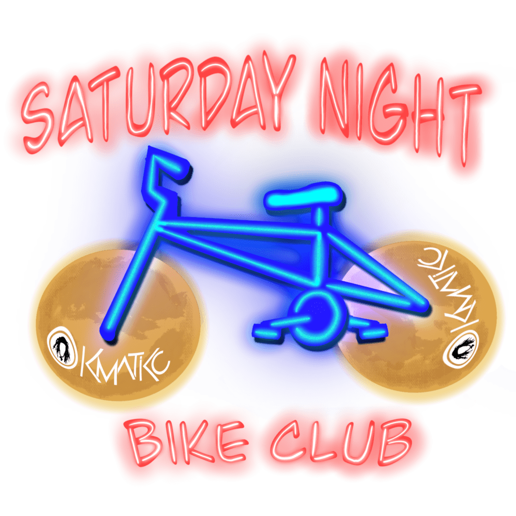 A neon logo with Saturday Night Bike Club in red and a bicycle in blue.