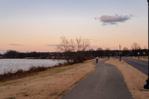 Anacostia River Trail at sunrise. There is a flock of geese in the sky and a black guy on a bike is riding to the camera on the trail. Grass is brown and its winter