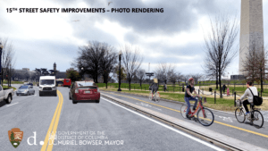 bicyclists ride near the Washington Monument in a protected bike lane