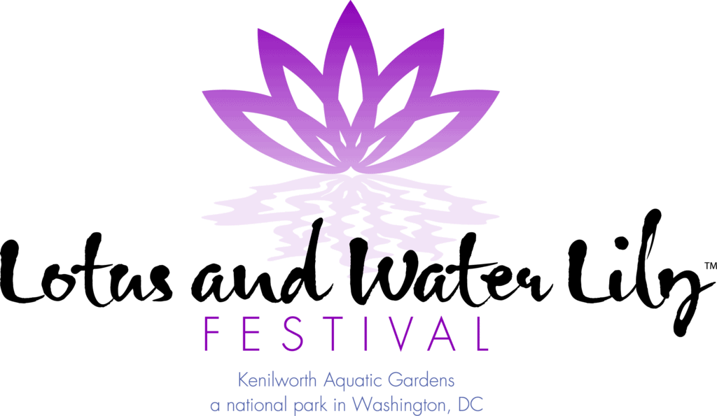 Logo of a purple lotus outline saying Lotus and Water Lily Festival. Kenilworth Aquatic Gardens a national park in Washington DC