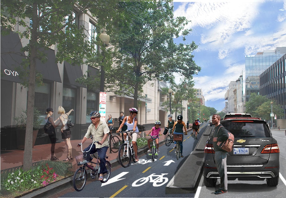 A 2 way protected bike lane full of happy people riding bikes, separated from car traffic by a curb and parked cars